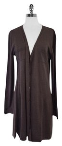 Max Mara Long Brown V-neck Cardigan
