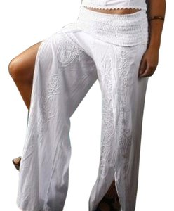 Lirome Casual Resort Cottage Chic Ibicenco Wide Leg Pants White