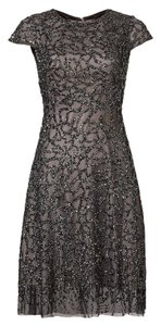 Monique Lhuillier Beaded Cap Sleeve Party Dress