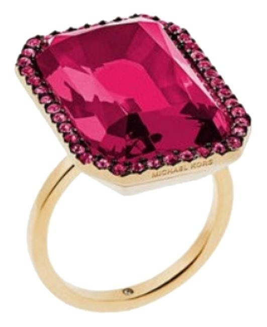 Item - Gold Tone Red Pink Cocktail Size 8 Ring
