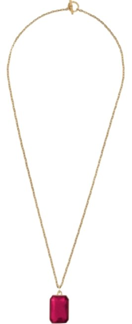 """Item - Gold Tone Red Pendant Long 30"""" Necklace"""