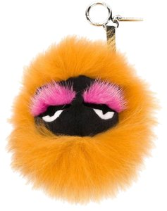 Fendi Honeyfur Orange Bag Bug Monster Key Chain Bag Charm
