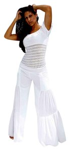 Lirome Bohemian Resort Vacation Wide Leg Pants White