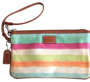 Coach Wristlet in Multi With Brown