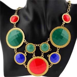 Colorful Multi-Layered Circle Statement Necklace