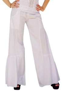 Lirome Boho Resort Summer Wide Leg Pants White