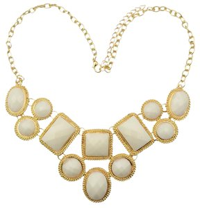 White Multi-Layered Geometrical Statement Necklace