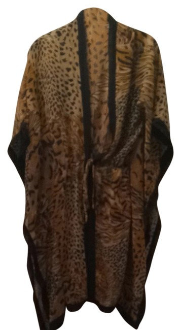 Item - Black Tan Brown Leopard Cover-up/Sarong Size OS (One Size)