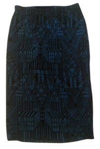 Sans Souci Flocking Lined Skirt Teal and Black
