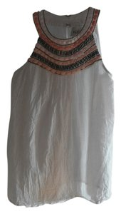 Sabine Beaded Linen Summer Top White with Pink