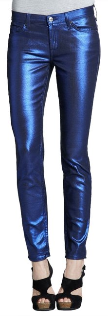 Item - Blue Coated The In Liquid Metallic Electric Skinny Jeans Size 24 (0, XS)