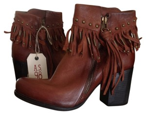 A.S. 98 Moto Leather Zip Fringe Brown/Cognac Boots