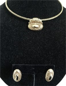 Premier Designs Premier Designs AVALON Collar Necklace w/ removable Pendant matching Earrings GOLD PLATED
