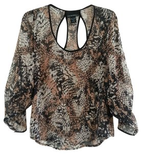 Cynthia Rowley Gauze See Through Shaped Top Multi-Color