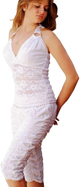 """Item - White Organic Cotton Ruched Crop """"Pixy"""" Low Rise Capris Size 6 (S, 28)"""