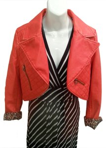 Lotus Touch Vegan Leather Red Leather Jacket