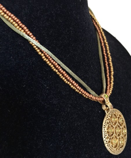 Premier Designs Premier Designs Bamboo Gold Tone Large Disk Necklace & Earrings