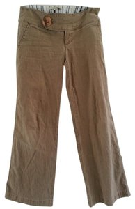 Free People Linen Crop Wide Capri Short Capri/Cropped Pants Tan