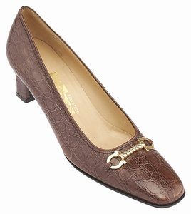 Salvatore Ferragamo Leather Heels Brown Pumps
