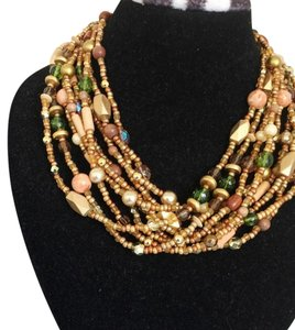 Joan Rivers Joan Rivers Multi-Strand Earth Tone Beaded Statement Necklace in box
