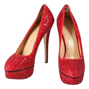 Charlotte Olympia Glitter Red Platforms