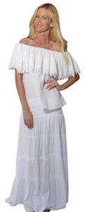 Lirome Boho Summer Crochet Cottage Chic Bohemian Maxi Skirt White