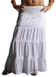 Lirome Boho Maxi Skirt White
