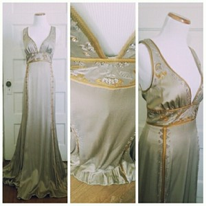 Nicole Miller Gold and Taupe/Silver Gatsby Style Vintage Wedding Dress Size 8 (M)