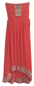 Orange Maxi Dress by Other Tribal Aztec Strapless High Low