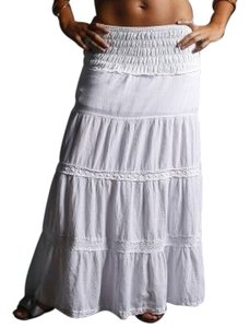 Lirome Boho Casual Summer Cottage Chic Maxi Skirt White