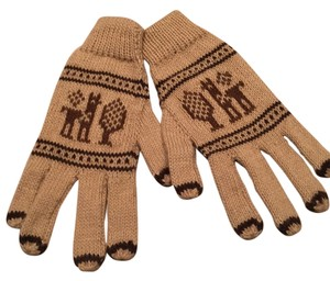 Other Boho Llama Super Soft Gloves Tan And Brown