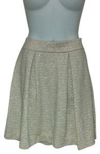 Mango Sparkly Sparkle High Waist Pleated Pleats Medium Skirt Ivory & Silver