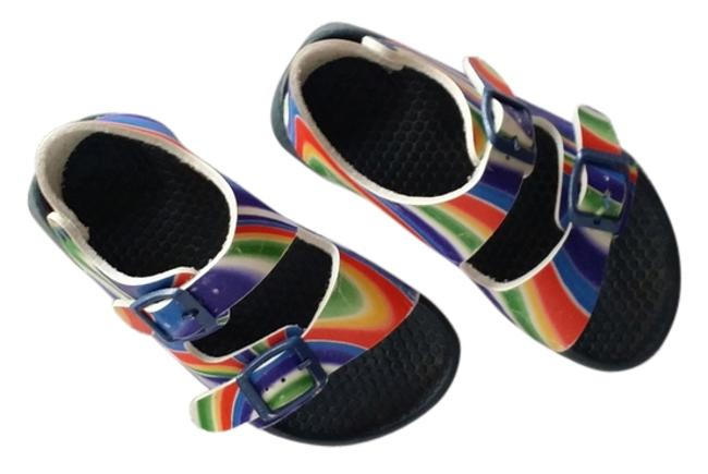 Item - Multi Color Red Yellow Blue Green Toddler Classic Birki Sandals Size US 4