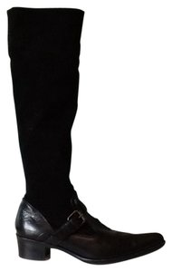 Henry Beguelin Black Suede and Leather Boots