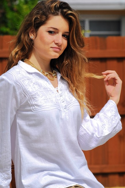 Lirome Embroidered Casual Cozy Embroidery Top White