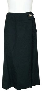 Requirements Full Length Long Tattered Slit 14 Denim Maxi Skirt Black