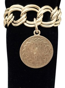 French Brushed Gold Coin Bracelet