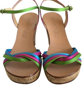 Anne Klein Cork/ fuchsia/lime/turquois Wedges