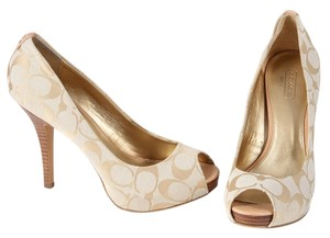 Coach Beige Peep Toe Canvas Monogram Pump Biege Platforms