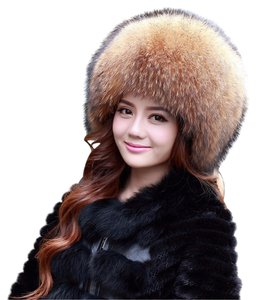 Neiman Marcus Real Raccoon Fox Fur Hat with Full Tail