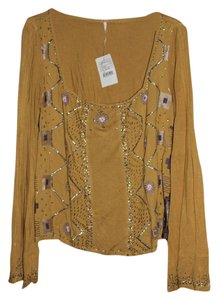 Free People Beaded Bell Sleeved Top Yellow