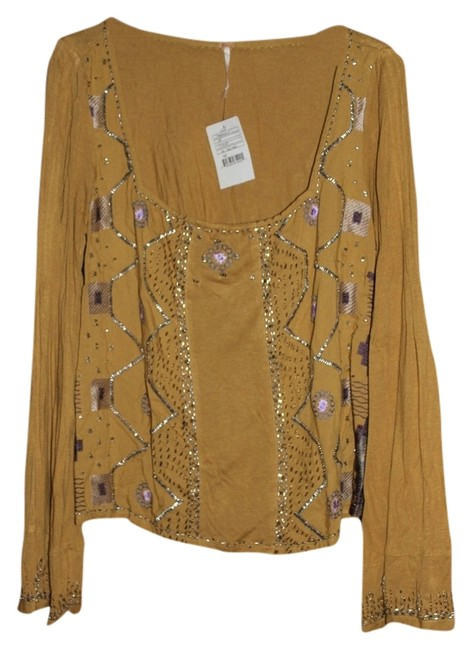 Free People Beaded Bell Sleeved Embellished Top Yellow