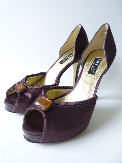 A.B.S. by Allen Schwartz Satin Peep Toe Slide Yellow Rhinestone Crocodile Heel Brown Pumps