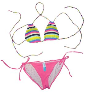 Victoria's Secret Victorias Secret PINK dog logo 2 piece striped sexy bathing suit bikini Small