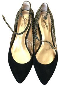 Seychelles Black suede with calf hair animal print Flats