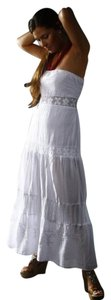 White Maxi Dress by Lirome Boho Embroidered Lace