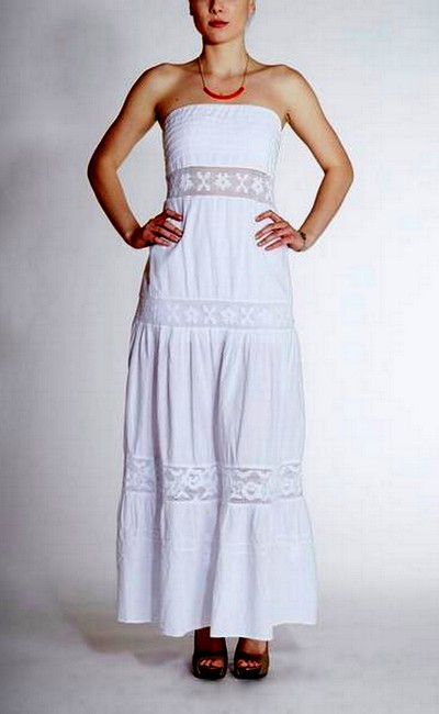 White Maxi Dress by Lirome Boho Embroidered Lace Cottage Chic Summer
