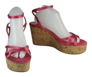 Prada Pink Logo Cork Wedge Heels Sandals