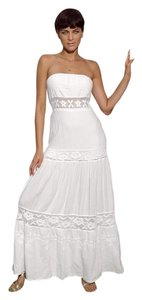White Maxi Dress by Lirome Boho Lace Cottage Chic Crochet