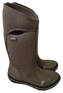 Bogs Tall Herringbone Waterproof Insulated Gunmetal Grey Boots